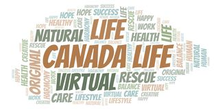 Canada Life word cloud. Wordcloud made with text only vector illustration