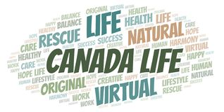 Canada Life word cloud. Wordcloud made with text only stock illustration