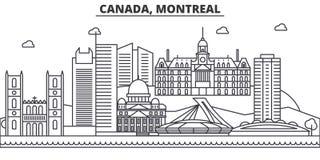 Canada, ligne illustration d'architecture de Montréal d'horizon Paysage urbain linéaire de vecteur avec les points de repère célè Images stock