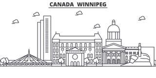 Canada, ligne illustration d'architecture de Winnipeg d'horizon Paysage urbain linéaire de vecteur avec les points de repère célè illustration libre de droits