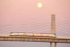 Canada Line Moonrise, Vancouver Stock Image