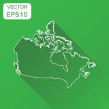 Canada linear map icon. Business cartography concept outline Can. Ada pictogram. Vector illustration on green background with long shadow Stock Photo