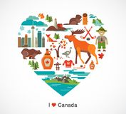 Canada love - heart with icons and elements Royalty Free Stock Photos