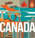 Canada love - heart with icons and elements stock illustration