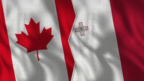 Canada and Malta Half Flags Together stock photo