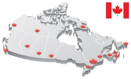 Canada Map. 3D map of Canada, showing the capitals of the provinces and territories, as well as the borders Royalty Free Stock Images