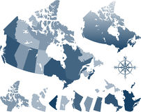 Canada map. Blue vector Canada and provinces map