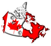 Canada Map. Canada Covered in Canadian Flag Stock Photo