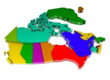 Canada Map. 3d map of canada and their provinces Royalty Free Stock Photography