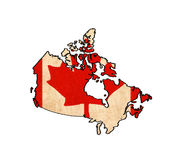 Canada map on Canada flag drawing Stock Images