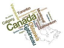 Canada map and cities. Canada map and words cloud with larger cities stock illustration