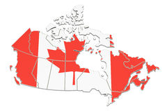 Canada map, 3D rendering. On white Stock Images