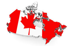 Canada map with flag. 3d Canada map with flag on a white background Royalty Free Stock Images