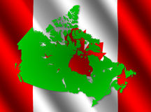 Canada map on flag Royalty Free Stock Photos