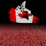 Canada map flag with abstract dollar foreground illustration. Canada map flag with abstract dollar foreground and black background 3d illustration Royalty Free Stock Image