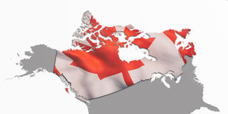 Canada map and flag. 3d rendering of Canada flag and map. Its a JPG image Royalty Free Stock Images