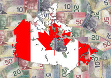 Canada map flag with dollars. Canada map flag with Canadian dollar bills illustration Royalty Free Stock Image