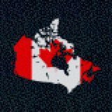 Canada map flag on hex code illustration. Retro 8 bit pixellated Canada map flag on hex code illustration Royalty Free Stock Images