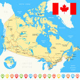 Canada map, flag, navigation icons, roads, rivers - illustration. Stock Photos
