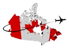 Canada map flag with plane and swoosh illustration Royalty Free Stock Photo
