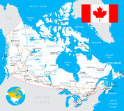 Canada map, flag, roads - illustration. Royalty Free Stock Images
