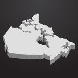 Canada map in gray on a black background 3d. Canada  map in gray on a black background 3d Royalty Free Stock Photography