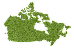 Canada map from green grass, 3D rendering. On white background Royalty Free Stock Image