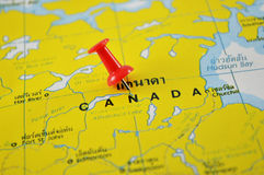 Canada map. Macro shot of canada map with push pin Stock Images