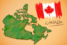 Canada Map and National Flag Vector Stock Photos