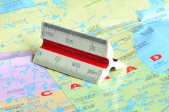 Canada Map and plastic ruler. This is a  proportional scale and it is a  plastic tool for canada map design Stock Photography