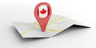 Canada map pointer on white background. 3d illustration. Canada map pointer isolated on white background. 3d illustration Royalty Free Stock Photos