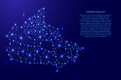 Canada map of polygonal mosaic lines network, rays, space stars of  illustration. Canada map of polygonal mosaic lines network, rays and space stars of Stock Image