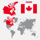 Canada map on a world map with flag and map pointer. Vector illustration Royalty Free Stock Photography