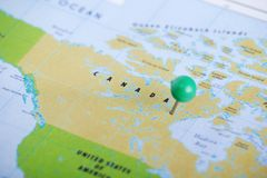 Canada pinned at the map. Canada marked at the political administrative map stock photography