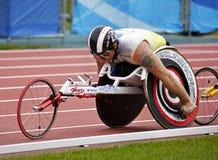 Canada masculin de course d'athlète de fauteuil roulant Photo libre de droits