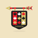 Canada medieval emblem icon with leaves pattern Stock Image