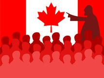 Canada meeting. Crowd of silhouette people in a Canadian board meeting vector illustration
