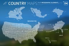 Canada, Mexico, Brazil, United States of America, Alaska, and Hawaii Vector Maps. Flat vector maps collection with infographic elements vector illustration