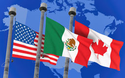 Canada, Mexico and US Flags. Over north america map, conceptual image for Nafta agreement 3D rendered image Royalty Free Stock Photography