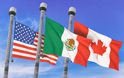 Canada, Mexico and US Flags. Over blue sky, conceptual image for Nafta agreement 3D rendered image Stock Photos