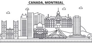 Canada, Montreal architecture line skyline illustration. Linear vector cityscape with famous landmarks, city sights Stock Images