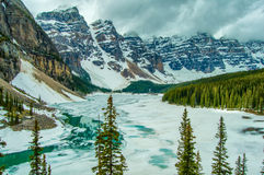 Canada Moraine Lake Winter Frozen Stock Photography
