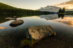 Canada Mountain Lake Sunset Stock Image