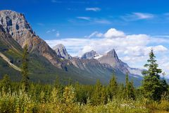 Canada Mountains. Mountains - Canadian Rockies near the Columbia Icefield, summer view. Jasper National Park Stock Photography