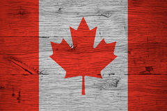 Canada national flag painted old oak wood Stock Photo