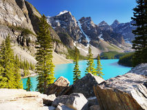 Canada, Nature Landscape, Banff National Park. Scenic nature landscape with Rocky Mountains and Moraine Lake, Banff National Park, Alberta, Canada Stock Images