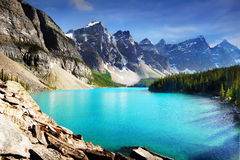 Canada, Nature Landscape, Banff National Park. Scenic nature landscape with Rocky Mountains and turquoise Moraine Lake, Banff National Park, Canada royalty free stock photo