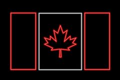Canada neon flag Royalty Free Stock Image