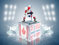Canada - Norway game. Face-off player on the ice Royalty Free Stock Photography