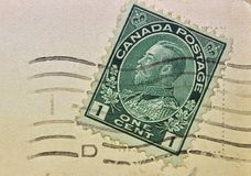 Canada One-cent Stamp Postmark Stock Photos